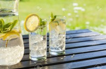 20393439-cold-summer-drinks-in-garden-Stock-Photo-water-lemon-lemonade